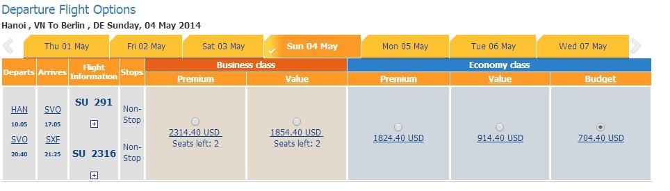 Vé máy bay giá rẻ đi Berlin Aeroflot