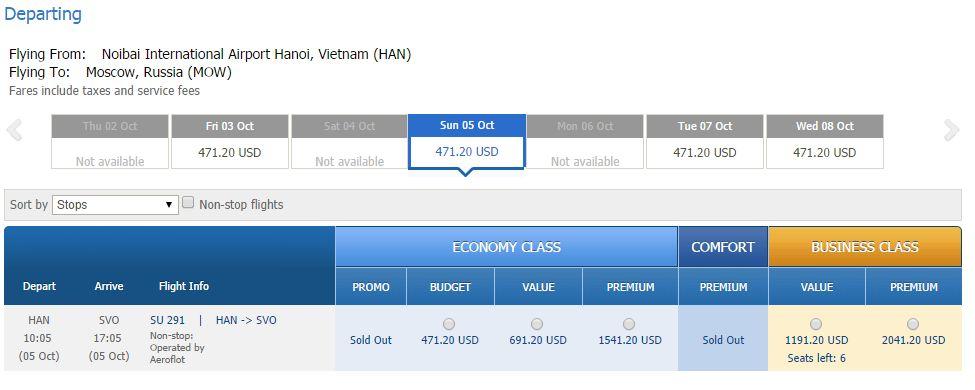 Vé máy bay đi Moscow bao nhiêu tiền
