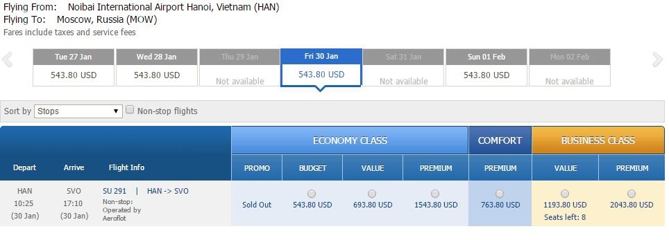 Vé máy bay Hà Nội đi Nga giá rẻ