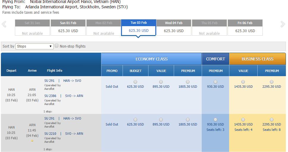 Vé máy bay đi Thụy Điển bao nhiêu tiền